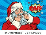 omg surprise santa claus... | Shutterstock .eps vector #714424399