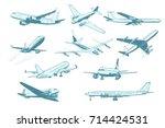 set aircraft air transport... | Shutterstock .eps vector #714424531