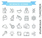 science icons  thin line  flat... | Shutterstock .eps vector #714425824