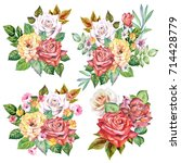 set of roses bouquets.watercolor | Shutterstock . vector #714428779