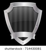empty shield with mettalic... | Shutterstock .eps vector #714430081