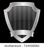 empty shield with mettalic... | Shutterstock .eps vector #714430081