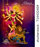 goddess durga killing demon... | Shutterstock .eps vector #714432409