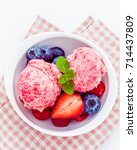 close up ice cream mixed berry... | Shutterstock . vector #714437809
