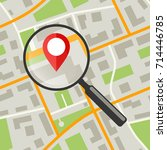 map with magnifier. simple flat ... | Shutterstock .eps vector #714446785