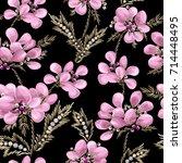 seamless pattern of pink... | Shutterstock .eps vector #714448495