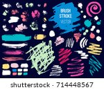 set brush stroke. brush  pen ... | Shutterstock .eps vector #714448567