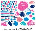 set brush stroke. brush  pen ... | Shutterstock .eps vector #714448615