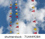 colorful pennants against blue... | Shutterstock . vector #714449284