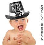 cute happy new year baby 2018 ... | Shutterstock . vector #714449305