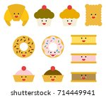 pastry cute emojis | Shutterstock .eps vector #714449941