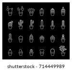 white line cactus icons pack | Shutterstock .eps vector #714449989