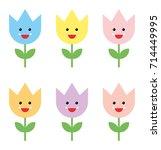 flowers cute emojis | Shutterstock .eps vector #714449995