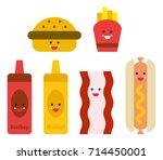 fast food cute emojis | Shutterstock .eps vector #714450001