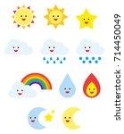 weather cute emojis | Shutterstock .eps vector #714450049