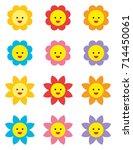 flowers cute emojis | Shutterstock .eps vector #714450061