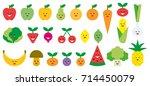 fruits   vegetables cute emojis | Shutterstock .eps vector #714450079