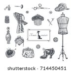 haute couture  high sewing. set ... | Shutterstock .eps vector #714450451
