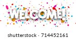 welcome paper banner with color ... | Shutterstock .eps vector #714452161