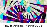 origami style geometric... | Shutterstock . vector #714459361
