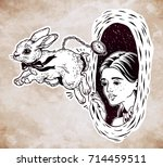 hand drawn beautiful portrait... | Shutterstock .eps vector #714459511