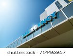 inscription on the building of... | Shutterstock . vector #714463657