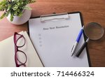 new year resolution word on... | Shutterstock . vector #714466324