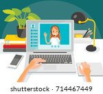 illustration with desk and... | Shutterstock .eps vector #714467449