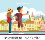 vector illustration with people ... | Shutterstock .eps vector #714467464
