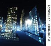 night city  skyscrapers at... | Shutterstock . vector #714468205