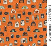 seamless pattern with halloween ... | Shutterstock .eps vector #714470845