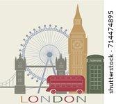 london vintage poster... | Shutterstock .eps vector #714474895