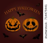happy halloween card with two... | Shutterstock .eps vector #714475441