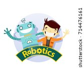 boy and robot are near each... | Shutterstock .eps vector #714476161