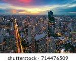 aerial of bangkok modern office ... | Shutterstock . vector #714476509