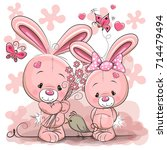 rabbit boy and girl | Shutterstock .eps vector #714479494