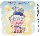 greeting christmas card with... | Shutterstock .eps vector #714480265