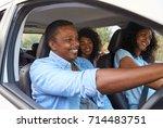 family with teenage children in ... | Shutterstock . vector #714483751