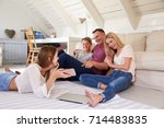 family with teenage children... | Shutterstock . vector #714483835
