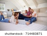 family with teenage children... | Shutterstock . vector #714483871