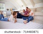 family with teenage children...   Shutterstock . vector #714483871