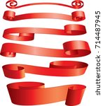 red ribbons | Shutterstock .eps vector #714487945