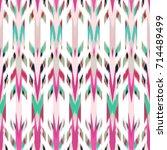 ikat seamless pattern design... | Shutterstock . vector #714489499