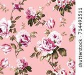 shabby chic vintage roses ... | Shutterstock . vector #714492511