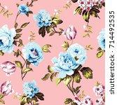 shabby chic vintage roses ... | Shutterstock . vector #714492535