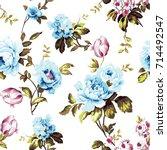 shabby chic vintage roses ... | Shutterstock . vector #714492547