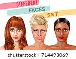 model faces of pretty women... | Shutterstock .eps vector #714493069