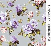 shabby chic vintage roses ... | Shutterstock . vector #714493141