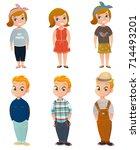 cartoon set of cute children... | Shutterstock .eps vector #714493201