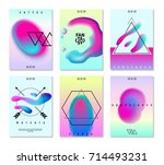 flat set of six fantasy poster... | Shutterstock .eps vector #714493231